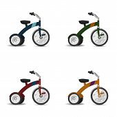 stock photo of tricycle  - Four random colors kids tricycle vector set - JPG