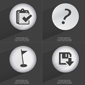 pic of tasks  - Task completed Question mark Golf hole Floppy disk download icon sign - JPG