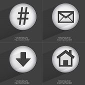 picture of hashtag  - Hashtag Message Arrow directed down House icon sign - JPG