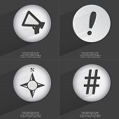 stock photo of hashtag  - Megaphone Exclamation mark Compass Hashtag icon sign - JPG