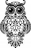 pic of owl eyes  - Pretty owl with floral pattern and sweet round eyes - JPG