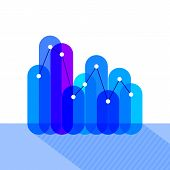 image of line graph  - Infographics with blue overlapping bars and line graph - JPG