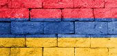 stock photo of armenia  - Flag of Armenia painted over on old brick wall - JPG