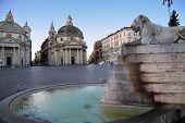 picture of piazza  - Lion fountain in Piazza del Popolo  - JPG
