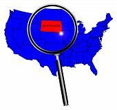 picture of united states map  - South Dakota state outline set into a map of The United States of America under a magnifying glass - JPG