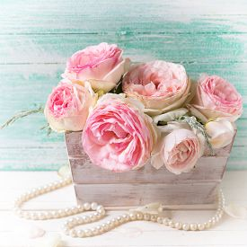 stock photo of text-box  - Background with sweet pink roses flowers wooden box on white painted wooden background against turquoise wall - JPG