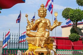 stock photo of brahma  - Beautiful big golden Brahma statue - JPG
