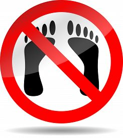 stock photo of bans  - Ban foot print - JPG