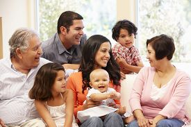 picture of three sisters  - 3 generation Hispanic family at home - JPG