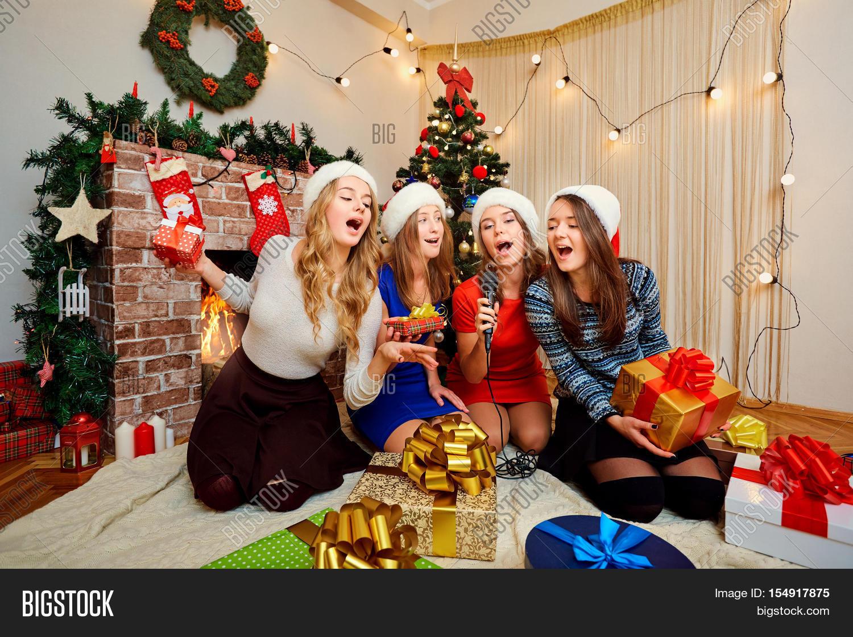 Friends Sing Karaoke Christmas New Image & Photo | Bigstock