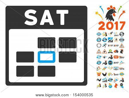 Saturday Calendar Grid pictograph with bonus calendar and time management pictograph collection. Glyph illustration style is flat iconic symbols, blue and gray colors, white background.