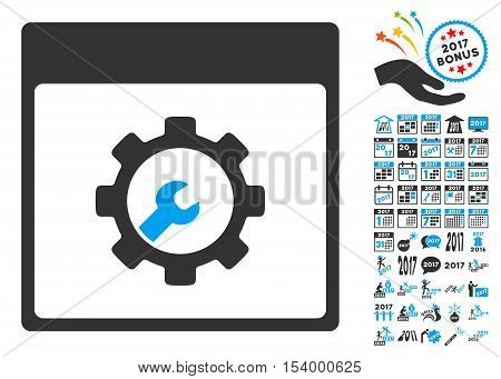 Setup Tools Calendar Page pictograph with bonus calendar and time management pictograph collection. Glyph illustration style is flat iconic symbols, blue and gray colors, white background.