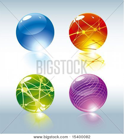 Refracting glossy spheres. Vector.