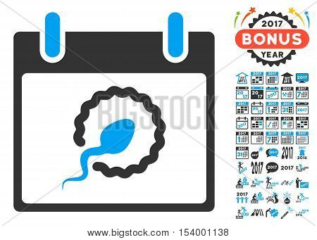 Sperm Insemination Calendar Page pictograph with bonus calendar and time management symbols. Glyph illustration style is flat iconic symbols, blue and gray colors, white background.