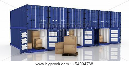 3D rendering : illustration of row of container with opened container and cardboard boxes inside the container.business export import concept