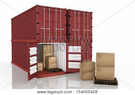 3D rendering : illustration of four container with one opened container and cardboard boxes inside the container.business export import concept.white isolate background
