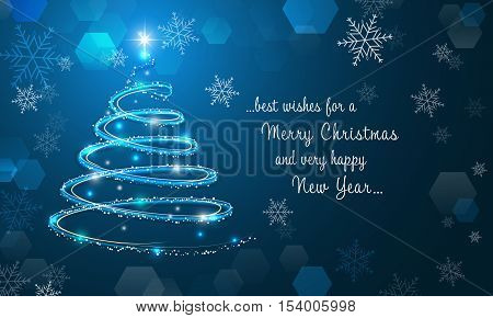 Shiny Christmas Tree And Snowflakes On Blue Winter Background. Merry Christmas And Happy New Year Wa