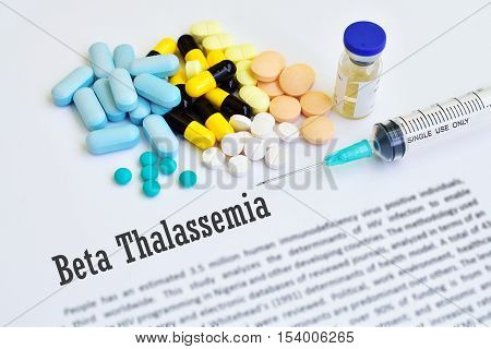 Drugs for beta thalassemia treatment, blurred text, medical concept