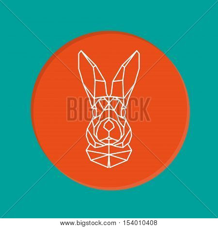 Vector portrait of rabbit geometry style. Geometric low poly rabbit design. Creative easter bunny - stock vector. Rabbit head on green and orange background.