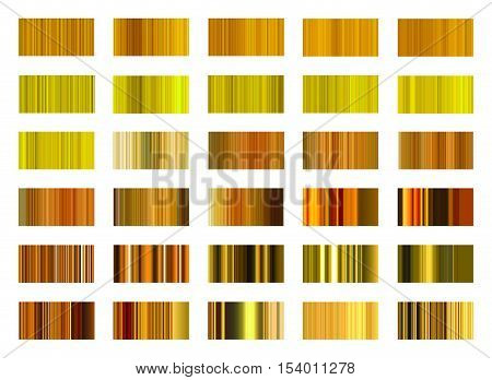 Collection of  golden gradient in frame set.Gradient from refined lines.