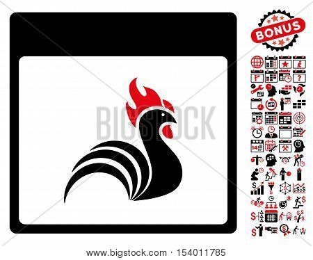 Rooster Calendar Page pictograph with bonus calendar and time management pictograph collection. Glyph illustration style is flat iconic symbols, intensive red and black, white background.