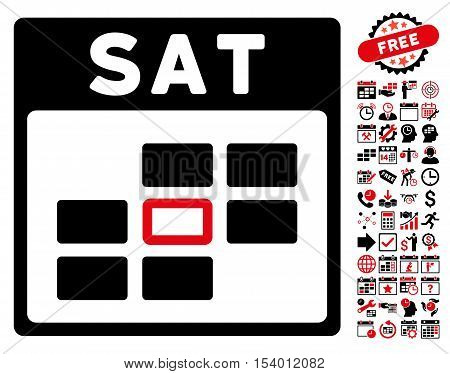 Saturday Calendar Grid pictograph with bonus calendar and time management pictograph collection. Glyph illustration style is flat iconic symbols, intensive red and black, white background.