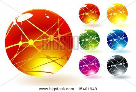 Refracting spheres. Vector.