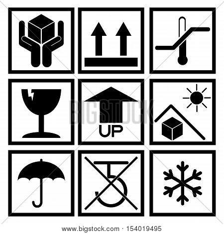 Set of black packaging symbol (side up handle with care fragile no hook beware sunlight etc.)