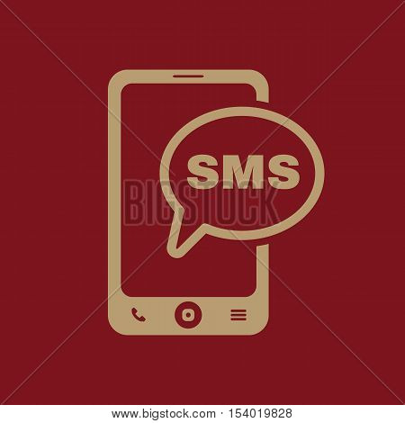 The sms icon. Smartphone and telephone, communication, message symbol. Flat Vector illustration