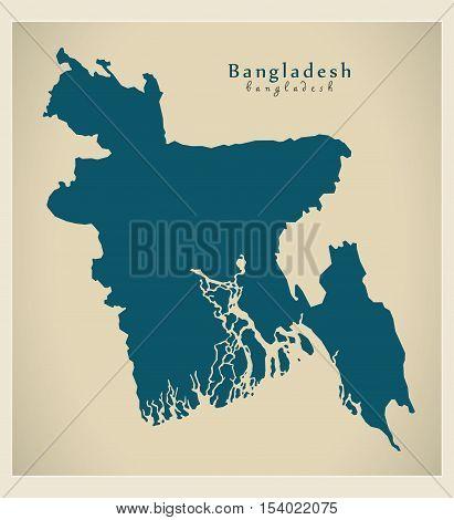 Modern Map - Bangladesh BD illustration vector