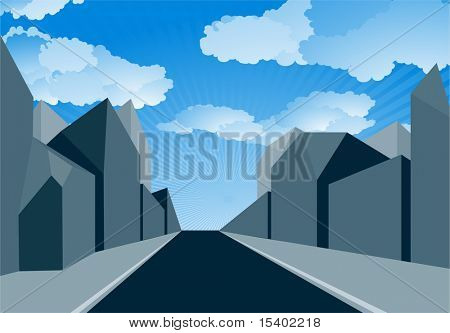Urban perspectives. Vector background.