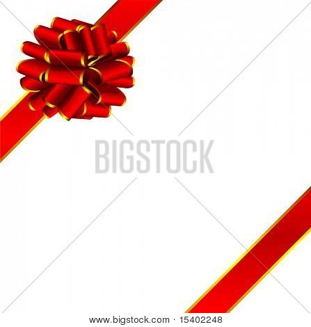 Red holiday ribbon bow. Vector.