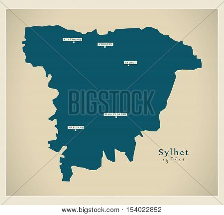 Modern Map - Sylhet BD Bangladesh illustration vector