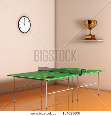 Ping-pong Tennis Table with Paddles against a wall in the room. 3d Rendering