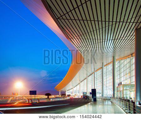 Modern architecture at night China Shanghai pudong airport.