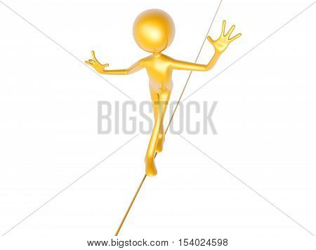 golden guy wire walking isolated on white background 3d illustration