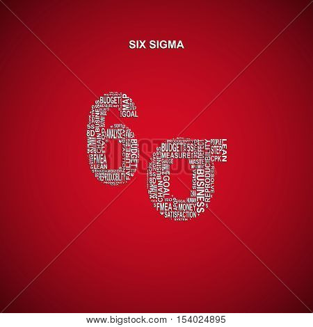 Six sigma diagonal typography background. Red background with main title 6 sigma filled by other words related with six sigma method