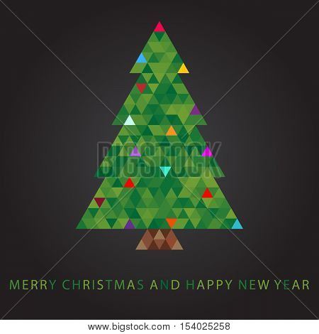 Abstract Mery christmas and happy new year tree filled by triangles on dark background