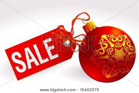 Christmas sale sign. Vector abstract.