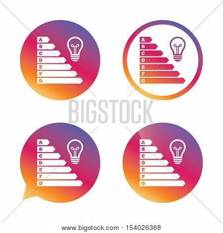 Energy efficiency icon. Electricity consumption symbol. Idea lamp sign. Gradient buttons with flat icon. Speech bubble sign. Vector