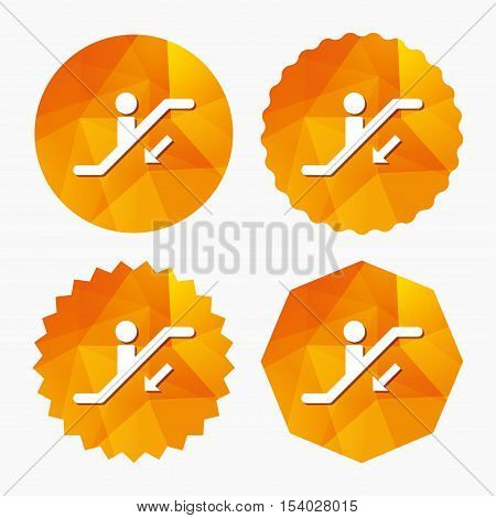 Escalator staircase icon. Elevator moving stairs down symbol. Triangular low poly buttons with flat icon. Vector