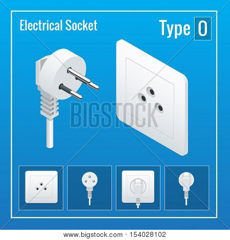 Isometric Switches and sockets set. Type O. AC power sockets realistic illustration. Power outlet and socket isolated. Plug socket