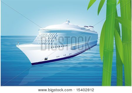 Cruise liner. Vector illustration.