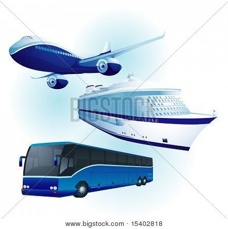 Travel-Transport Set. Vector.