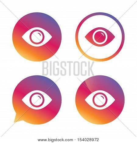 Eye sign icon. Publish content button. Visibility. Gradient buttons with flat icon. Speech bubble sign. Vector