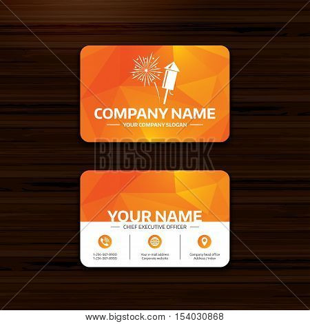 Business or visiting card template. Fireworks with rocket sign icon. Explosive pyrotechnic symbol. Phone, globe and pointer icons. Vector