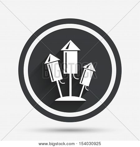 Fireworks rockets sign icon. Explosive pyrotechnic device symbol. Circle flat button with shadow and border. Vector