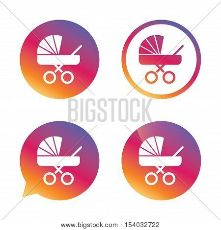 Baby pram stroller sign icon. Baby buggy. Baby carriage symbol. Gradient buttons with flat icon. Speech bubble sign. Vector