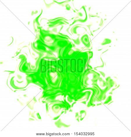 Abstract graphic rendered bright green stain spot
