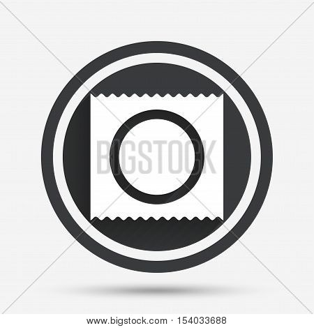 Condom in package safe sex sign icon. Safe love symbol. Circle flat button with shadow and border. Vector